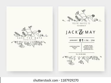 Minimalist wedding invitation card template design, floral black line art ink drawing with label on light grey