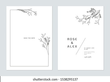 Minimalist wedding invitation card template design, floral black line art ink drawing bouquet decorated on line frame on white