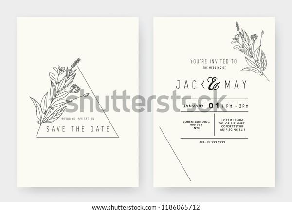 Minimalist Wedding Invitation Card Template Design Stock