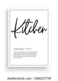 Minimalist Wording Design, Kitchen definition, Wall Decor, Wall Decals Vector, Kitchen noun description, Wordings Design, Lettering Design, Art Decor, Poster Design isolated on white background