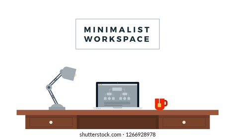 Minimalist Workspace with wooden table, laptop, desk lamp and tea cup flat single icon vector isolated on white