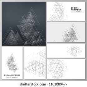 The minimalistic abstract editable vector layouts of modern social network mockups in popular formats. Polygonal background with triangles, connecting dots and lines. Connection structure