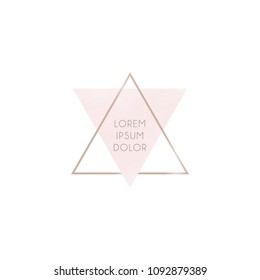 Minimalistic abstract logo from pink and gold triangles. Gentle pastel colors brush strokes in gold triangular frame. Abstract composition.