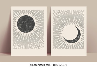 Minimalistic abstract sun and moon mystic posters design template with black sun and moon silhouettes with sunburst. Vector illustration
