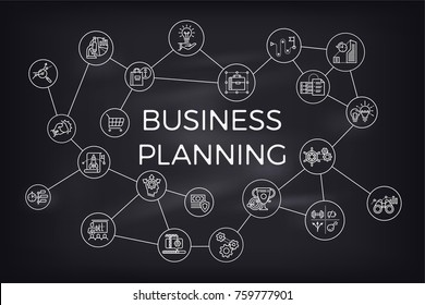 Minimalistic abstract vector concept background on Business Planning with commerce and finance themed icons and symbols interlinked