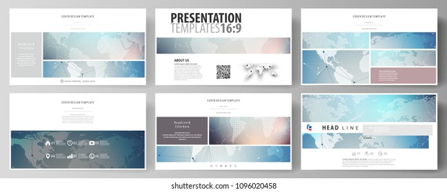 The minimalistic abstract vector illustration of editable layout of high definition presentation slides design business templates. Polygonal geometric linear texture. Global network, dig data concept.