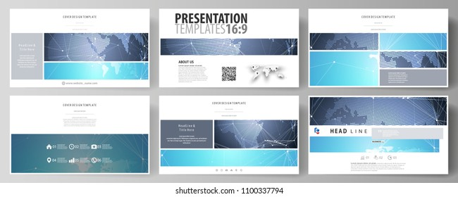 The minimalistic abstract vector illustration of the editable layout of high definition presentation slides design business templates. Abstract global design. Chemistry pattern, molecule structure.