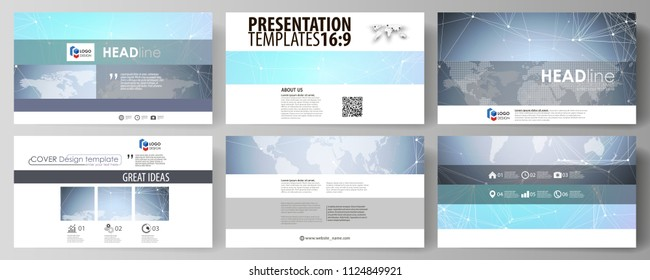The minimalistic abstract vector illustration of editable layout of high definition presentation slides design business templates. Polygonal texture. Global connections, futuristic geometric concept.