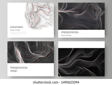 The minimalistic abstract vector illustration of the editable layout of the presentation slides design business templates. 3D grid surface, wavy vector background with ripple effect.