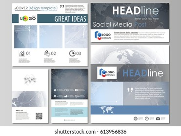 The minimalistic abstract vector illustration of the editable layout of modern social media post design templates in popular formats. Abstract futuristic network shapes. High tech background