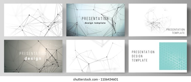 Die minimalistische abstrakte Vektorgrafik der Präsentation dirigiert Geschäftsvorlagen. Technologie, Wissenschaft, medizinisches Konzept. Struktur der Moleküle, Verbindungslinien und Punkte. Futuristischer Hintergrund