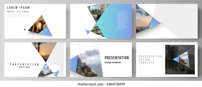 Die minimalistische abstrakte Vektorgrafik der Präsentation dirigiert Geschäftsvorlagen. Kreativer, moderner Hintergrund mit blauen Dreiecken und dreieckigen Formen. Einfache Gestaltung.