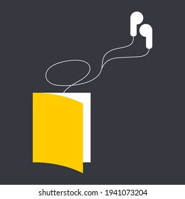Minimalistic audiobook vector graphic illustration isolated on dark background. book with wired headphones connected to it. can be used as logo for audiobooks, advertising, web design element, icons