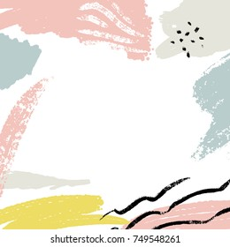 Minimalistic background with paint brush strokes. Hand drawn texture with white, pastel pink and blue colors.