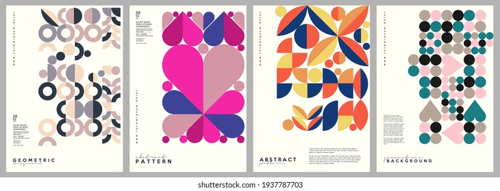 Minimalistic backgrounds. Vector geometric abstract illustrations. A set of vector illustrations. Vintage style. Perfect for painting, poster, billboard or cover art.  - Shutterstock ID 1937787703