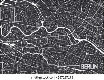 Minimalistic Berlin city map poster design.