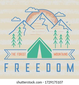 Minimalistic black and white travel poster. Mountains forest and sunrise behind the tent. Test: the forest, mountains, freedom.