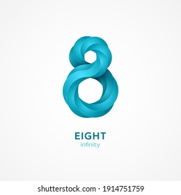 Minimalistic blue eight shape, 3d graphic style. Vector illustration. 8 geometric logo emblem template design isolated on white background. Simple creative number icon. Infinite mobius ribbon.