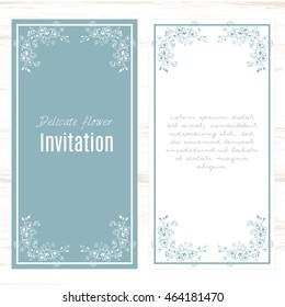 Minimalistic blue with white. greeting card template small flowers background. Design stationery set in vector format. Wedding card or invitation, shabby chic