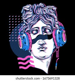 Minimalistic Bright colored collage. Apollo Plaster head statue in a headphone with a geometry. Cyberpunk glitch art. Creative poster, t-shirt composition, hand drawn style print. Vector illustration.