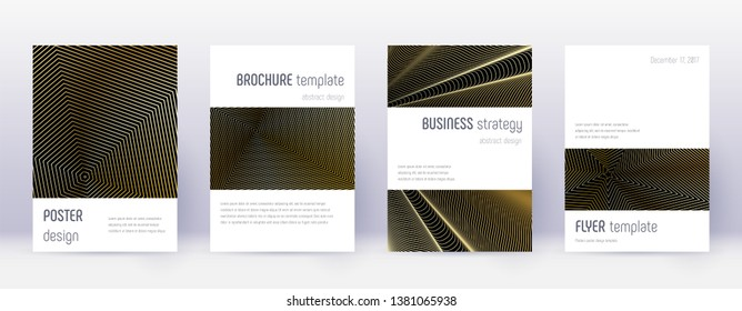 Minimalistic brochure design template set. Gold abstract lines on black background. Artistic brochure design. Symmetrical catalog, poster, book template etc.