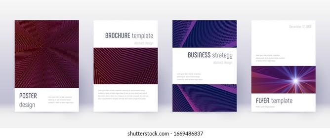 Minimalistic brochure design template set. Violet abstract lines on dark background. Awesome brochure design. Alive catalog, poster, book template etc.