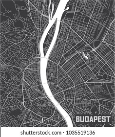 Minimalistic Budapest city map poster design.