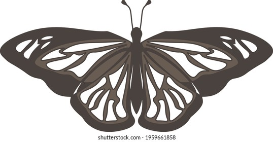 Minimalistic butterfly logo. Icon or element for decoration. Swallowtail illustration. Tattoo or simple clipart for design . Vector EPS 10
