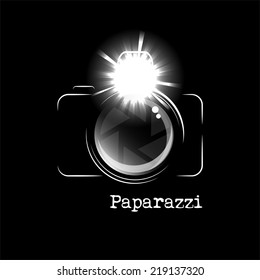 Minimalistic camera icon, with bright flash and the word Paparazzi, isolated over black background. EPS10 vector format