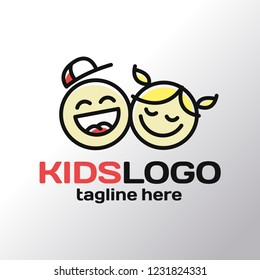 Minimalistic children's logo made in the style of one line. Two happy kids face boy in a baseball cap and a girl with pigtails.