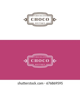 Minimalistic chocolate shop label design. Sweets store logo