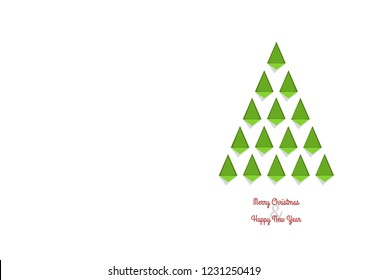 A minimalistic Christmas card with a Christmas tree made of green geometric shapes.