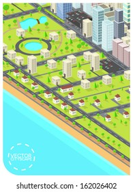 minimalistic cityscape illustration (text and frame easily removable)