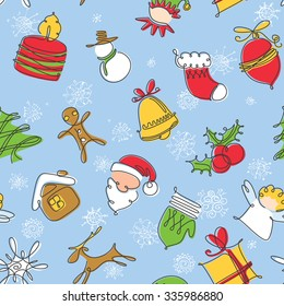 Minimalistic colorful Christmas seamless pattern. Winter holidays celebration background with snowman, Christmas tree, mitten, snowflake, stocking in long contour doodle style. Vector illustration