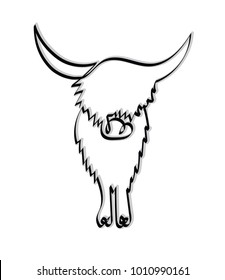 Minimalistic continuous one line drawing of a Highland Cow. Vector asset for logo.