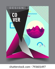 Minimalistic Cover design, creative concept Abstract geometric design, Memphis pattern and colorful background. Applicable for placards, brochures, posters, covers and banners.