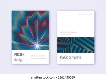 Minimalistic cover design template set. Red white blue abstract lines on dark background. Eminent cover design. Popular catalog, poster, book template etc.