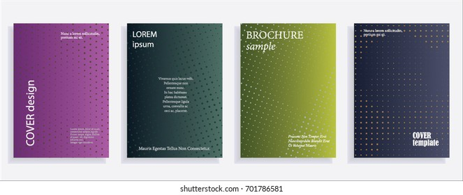 Minimalistic cover design templates. Layout set for covers of books, albums, notebooks, reports, magazines. Star, dot halftone gradient effect, flat modern abstract design Geometric mock-up texture