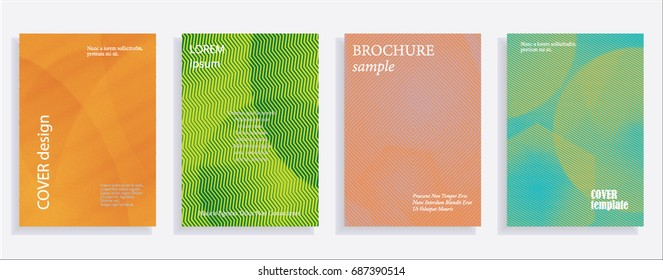 Minimalistic cover design templates. Set of layouts for covers of books, albums, notebooks, reports, magazines. Line halftone gradient effect, flat modern abstract design. Geometric mock-up texture.