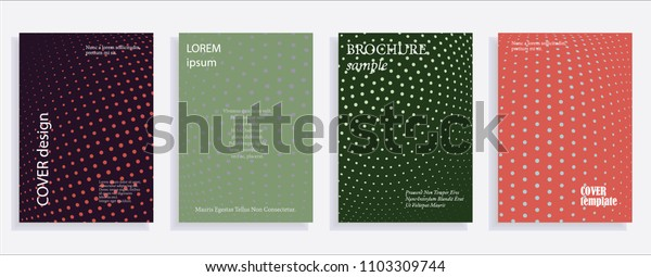 Minimalistic cover design templates. Set of layouts for covers, books, albums, notebooks, reports, magazines. Line dot halftone gradient effect, flat modern abstract design. Geometric mock-up texture