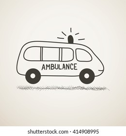 Minimalistic doodle of an ambulance  car with a siren. Black and white cartoon sketch icon. Primitive picture of automobile. Vector  illustration.