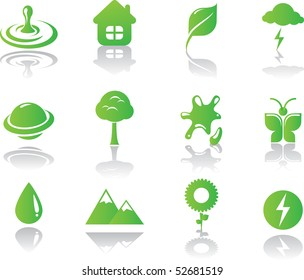 Minimalistic environmental green icons set