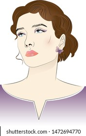 Minimalistic fashion illustration with a beautiful girl. Makeup, hairstyle, unusual jewelry.
