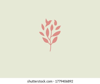Minimalistic gentle logo icon branch of a plant with leaves and a silhouette of a bird for a beauty salon