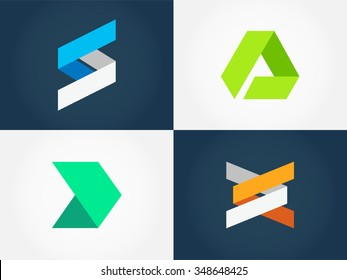 Minimalistic Geometric Logo Collection. Vector graphic design elements for your company logo. Creative abstract business icons set in modern flat style. Part 3