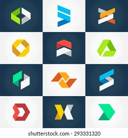Minimalistic Geometric Origami Logo Collection. Vector graphic design elements for your company logo. Creative abstract geometric business icons set in modern flat style