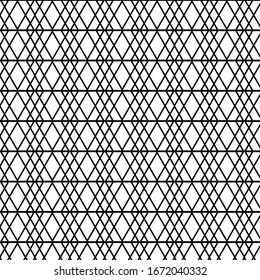 Minimalistic geometric pattern of triangles in the form of a twisted lattice. Seamless background.