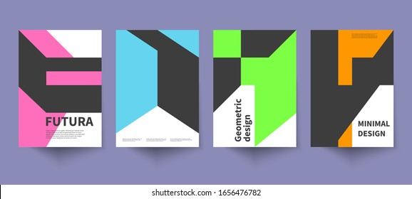 Minimalistic geometric poster, minimal cover template, abstract brochure, swiss style vector graphic design