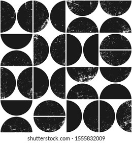 Minimalistic geometric seamless pattern in Scandinavian style. Modern abstract grunge background with semicircles.
