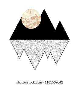 Minimalistic graphics. Full moon in mountains.